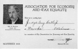 Cutlip's membership certificate for the Association for Economy and Tax Equality.