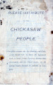 Booklet:  Please Distribute to the Chickasaw People: A Few Plain Reasons Why the Choctaws and...